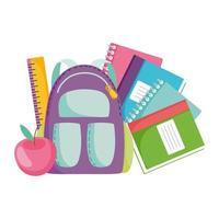 terug naar school, rugzak liniaal boeken en appel elementair onderwijs cartoon vector