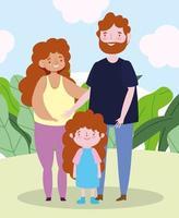 familie gelukkige ouders met dochtertje samen stripfiguur vector