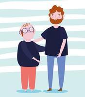familie grootvader en vader samen stripfiguur vector