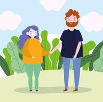 familie moeder en vader hand in hand landschap cartoon vector