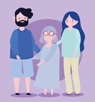 familie oma en ouders samen stripfiguur vector