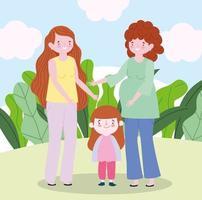familie zwangere moeder met tiener en dochtertje samen stripfiguur vector