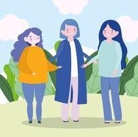 familie moeder en jonge meisjes samen stripfiguur vector
