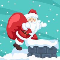 ontwerp van de kerstman die met kerstmis de open haard binnengaat vector