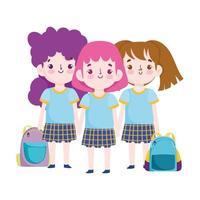 terug naar school, schattige kleine meisjes met uniform en rugzakken cartoon basisonderwijs vector