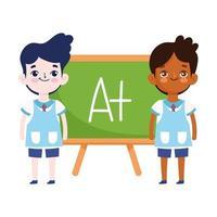 terug naar school, student jongens schoolbord elementair onderwijs cartoon vector