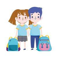 terug naar school, student jongen en meisje rugzakken basisonderwijs cartoon vector
