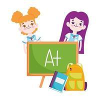 terug naar school, student meisjes schoolbord rugzak notebook elementair onderwijs cartoon vector