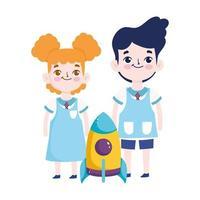 terug naar school, student jongen en meisje raket basisonderwijs cartoon vector