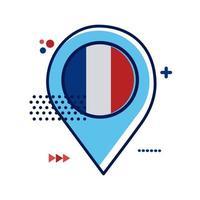 pinlocatie met vlakke stijl van de vlag van frankrijk