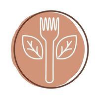 vork met bladeren plant organische blokstijl vector