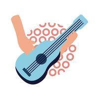 handen met gitaar vlakke stijl pictogram vector ontwerp