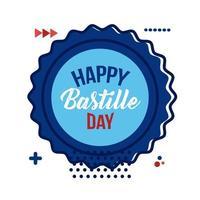kant met bastille-dag belettering vlakke stijl vector