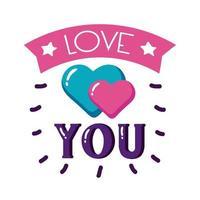 hou van je tekst met hart platte stijl pictogram vector ontwerp