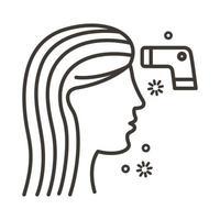 vrouw en thermometerlaser met covid19-deeltjeslijnstijl