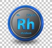 rhodium scheikundig element. chemisch symbool met atoomnummer en atoommassa.