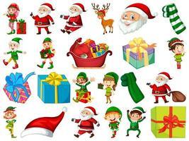 set kerstman stripfiguur en kerst objecten geïsoleerd op een witte achtergrond vector