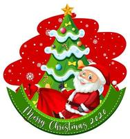 vrolijk kerstfeest 2020 lettertype banner met stripfiguur van de kerstman vector
