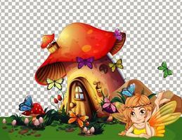 paddestoelhuisdorp in sprookjesachtig thema vector