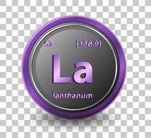 lanthaan scheikundig element. chemisch symbool met atoomnummer en atoommassa.