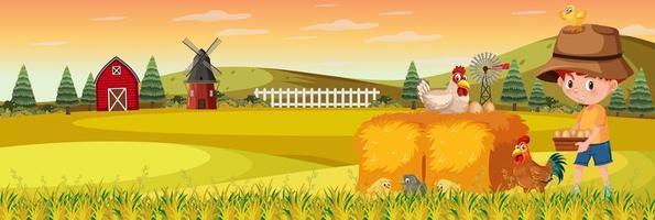 schattige jongen in natuur boerderij horizontale landschapsscène in zonsondergang tijd