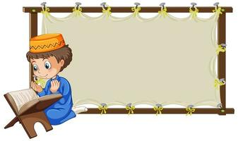 leeg houten frame met moslimjongen bidden stripfiguur vector