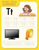 alfabet overtrekken werkblad met letter t en t vector