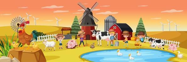 gelukkige kinderen op de boerderij