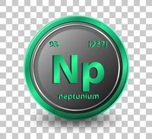 neptunium scheikundig element. chemisch symbool met atoomnummer en atoommassa.
