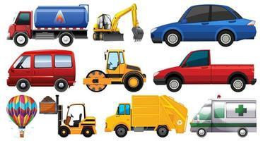 set van verschillende soorten auto's en vrachtwagens geïsoleerd op een witte achtergrond vector