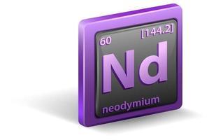 neodymium scheikundig element. chemisch symbool met atoomnummer en atoommassa.