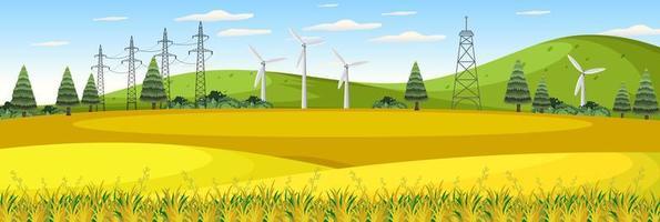 boerderijlandschap met windturbine in het zomerseizoen vector