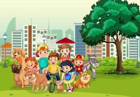 park buitenscène met veel kinderen en hun huisdieren