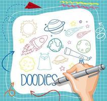 hand tekenen ruimte element doodle op papier vector