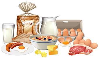 gezond ontbijt op witte achtergrond vector