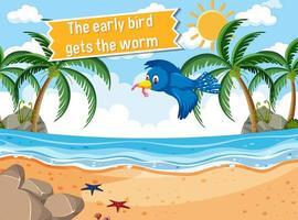 idioom poster met de vroege vogel krijgt de worm vector