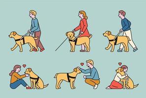 een blinde geleidehond en een blinde die met zijn hulp loopt.
