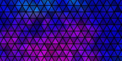 donkerroze, blauwe vector sjabloon met kristallen, driehoeken.