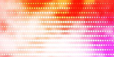 lichtroze, gele vector achtergrond met cirkels.