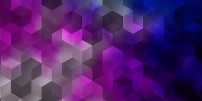 lichtroze, blauwe vectortextuur met kleurrijke zeshoeken. vector