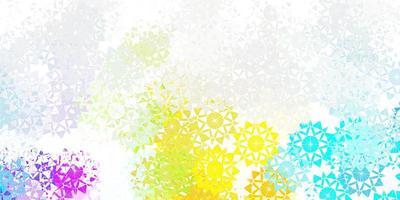 licht veelkleurige vector mooie sneeuwvlokken achtergrond met bloemen.