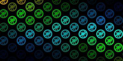 donkerblauwe, gele vectorachtergrond met virussymbolen.