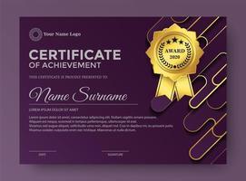 elegante paarse certificaatsjabloon award