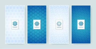 blauwe en witte retro label set vector
