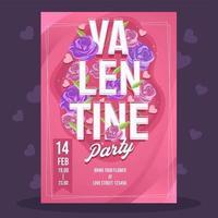 roze rode valentijn partij poster vector