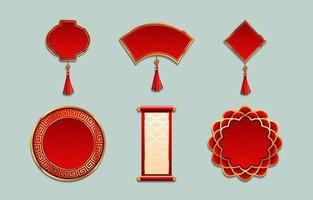 Chinees Nieuwjaar ornament labelsjablonen vector