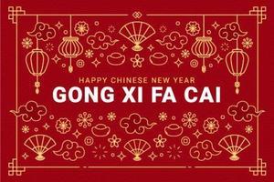 gong xi fa cai groet met decoratieve ornamenten vector