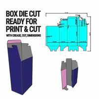doos gestanst kubus sjabloon met 3D-voorbeeld georganiseerd met knippen, vouwen, model en afmetingen vector