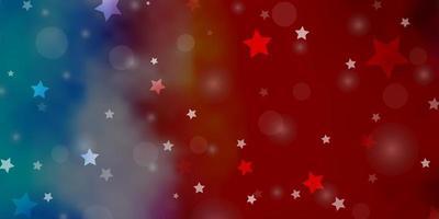 licht veelkleurige vector achtergrond met cirkels, sterren.