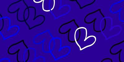 lichtroze, blauw vectorpatroon met kleurrijke harten.